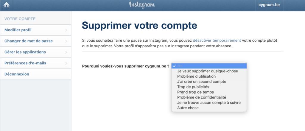comment supprimer définitivement son compte instagram depuis le navigateur web de mon ordinateur